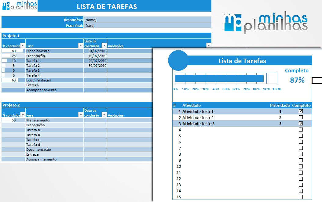 Well-known Planilha de Excel - Lista de Tarefas grátis MT54