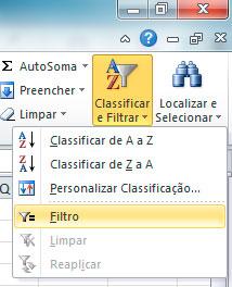 Excel - Deletar linha vazia filtro