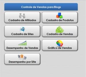 Menu Principal - Planilhas Controle de Vendas para Blog