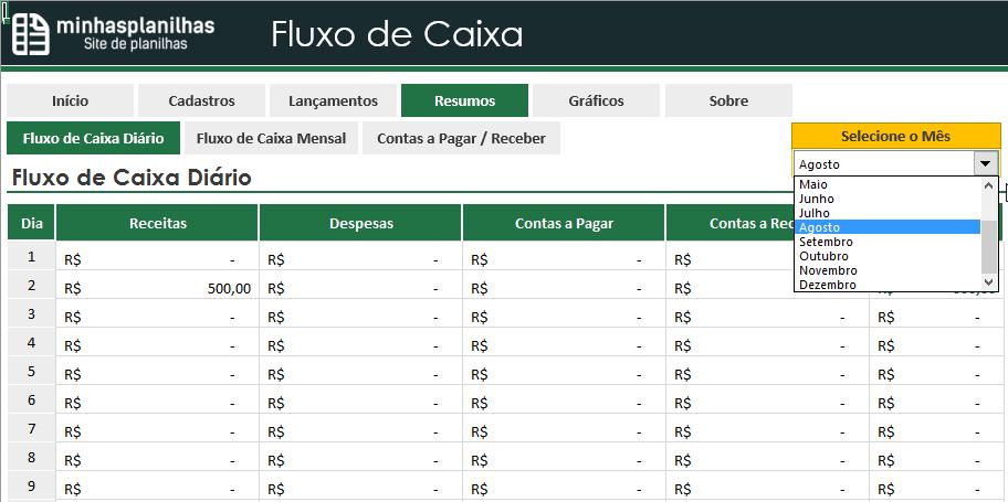Planilha Fluxo de Caixa Diário Excel