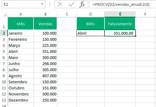 Fórmula PROCV no Excel