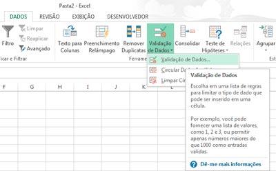 Validação de Dados Excel