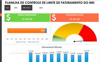 Planilha de Controle Limite de Faturamento Anual do MEI