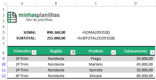 SUBTOTAL com Filtro no Excel
