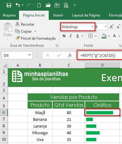 Função REPT Excel