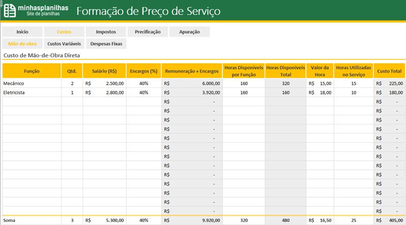 Planilha Formacao de Preco de Servicos no Excel - 1