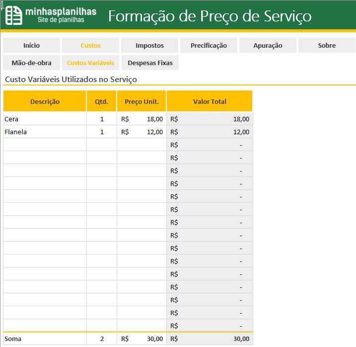 Planilha Formacao de Preco de Servicos no Excel - 2