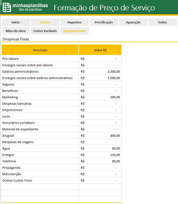 Planilha Formacao de Preco de Servicos no Excel - 3