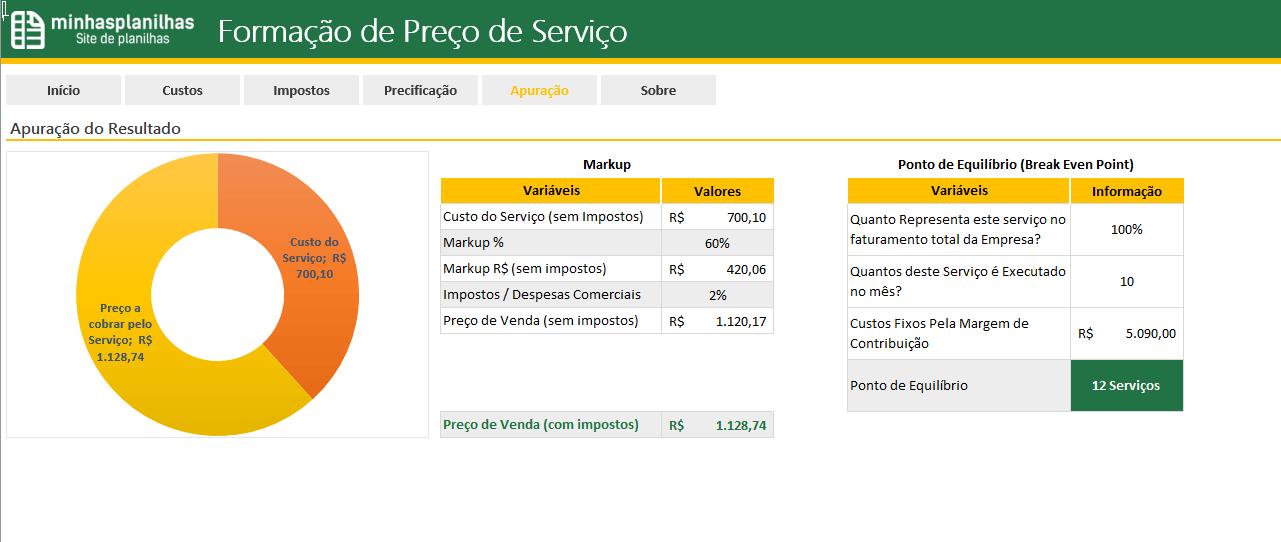 Planilha Formacao de Preco de Servicos no Excel - 6