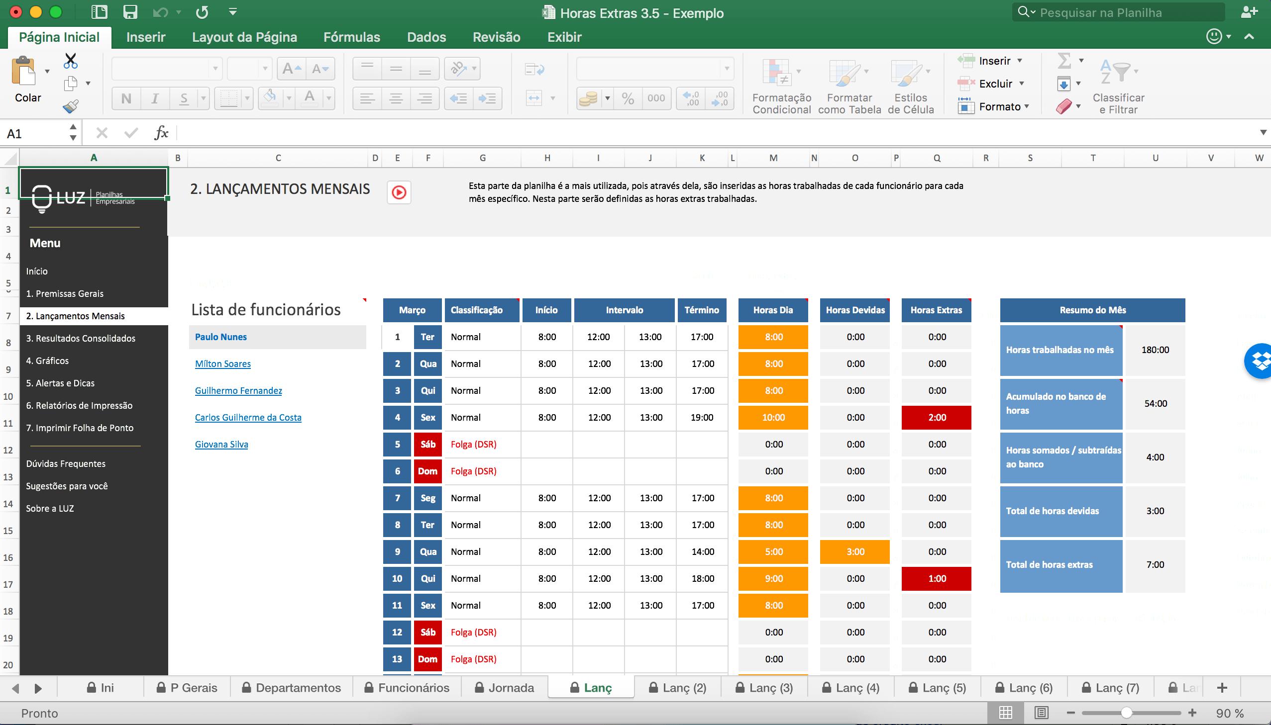 Planilha Hora Extra Excel