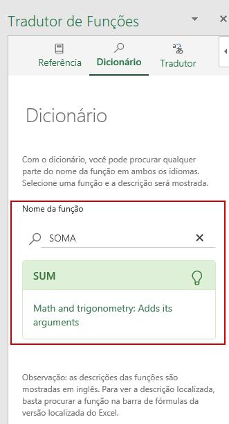 Traduzir Formulas Excel