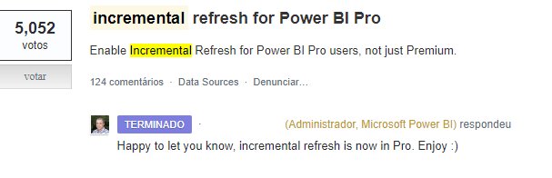 Atualização Incremental Power BI Pro