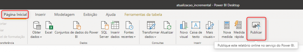 Publicar no Power BI Online