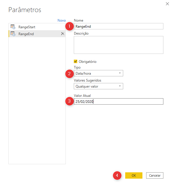 Parâmetro no Power BI