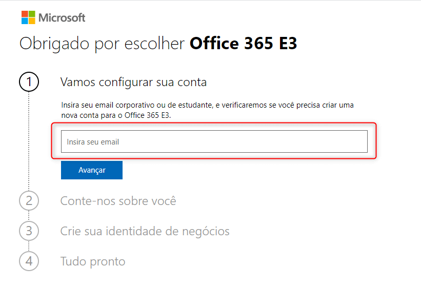 Criar Conta Trial do Office 365
