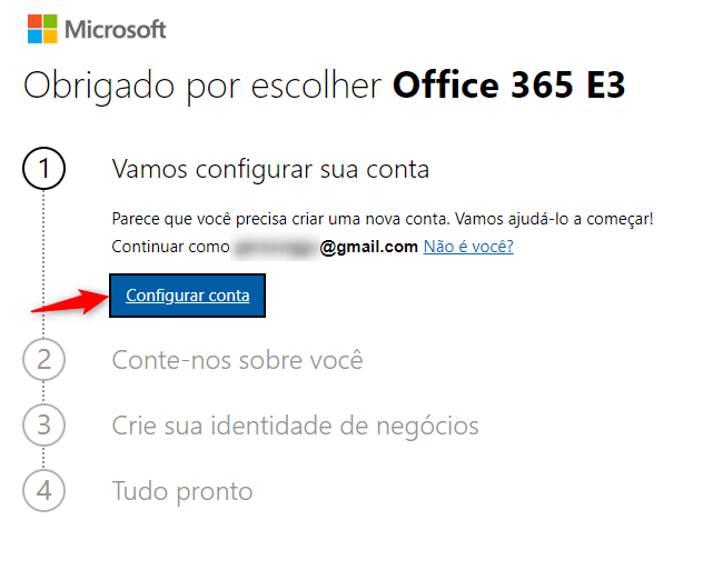Configurar conta do Office 365 Trial