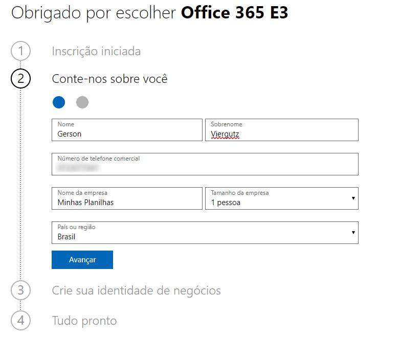 Criar conta office 365